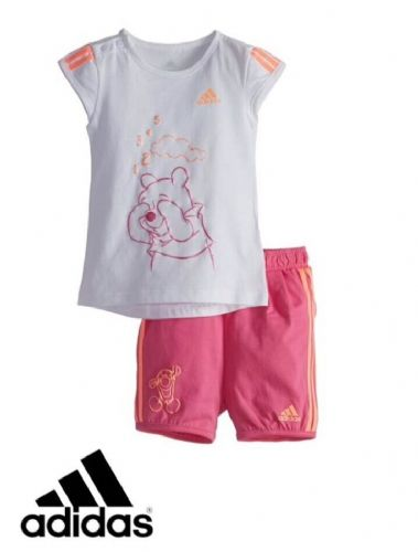 adidas baby girls infants Winnie The Pooh Shirt Short Set Great Gift BNWT S22051